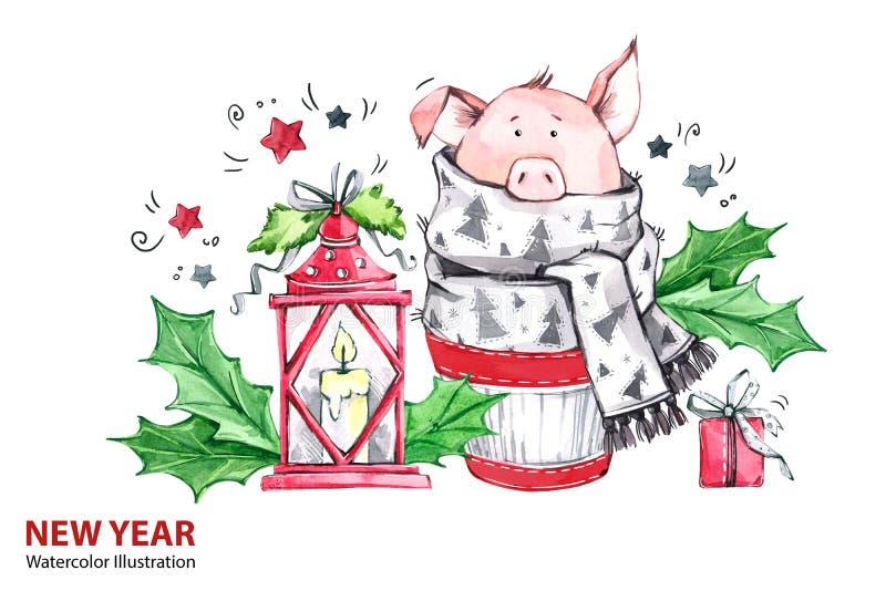 2019-guten Rutsch ins Neue Jahr-Illustration Weihnachten Nettes Schwein im Winterschal mit Lampe und Geschenk Grußaquarellkuchen stock abbildung
