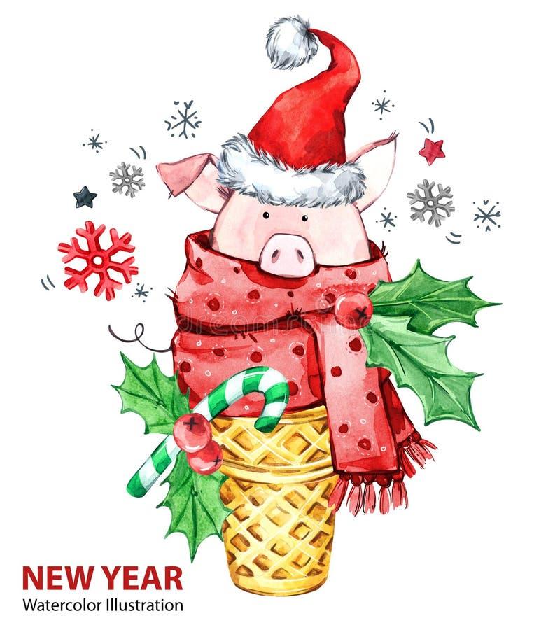 2019-guten Rutsch ins Neue Jahr-Illustration Weihnachten Nettes Schwein mit Sankt-Hut im Waffelkegel Grußaquarellnachtisch Symbol lizenzfreie abbildung