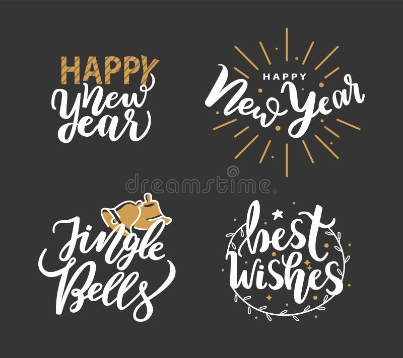 Guten Rutsch ins Neue Jahr, Jingle Bells und Karten der besten Wünsche stock abbildung