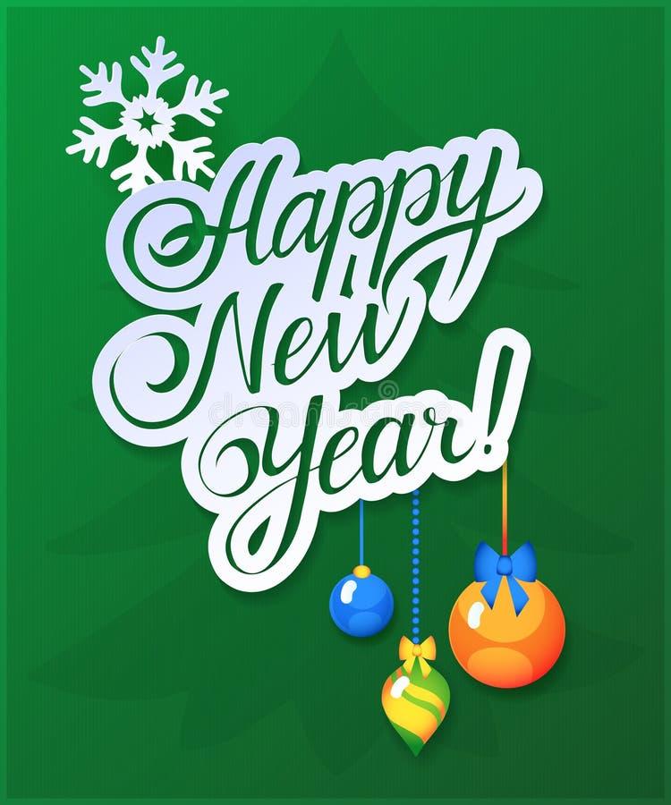 Guten Rutsch ins Neue Jahr-Karte auf grünem Hintergrund lizenzfreie abbildung