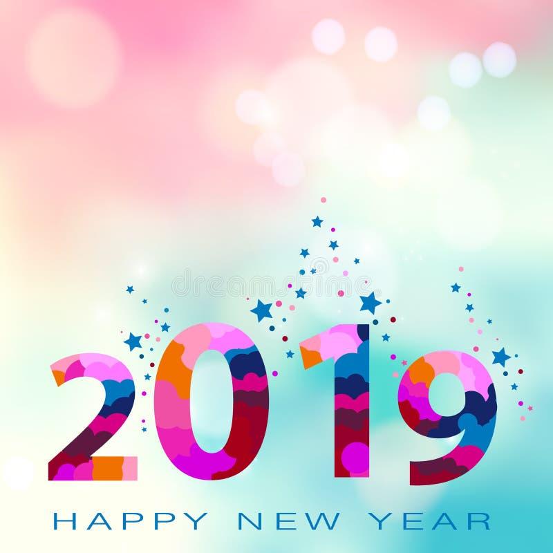 2019-guten Rutsch ins Neue Jahr-Kartendesign Datei der Vektorillustration ENV 10 stock abbildung