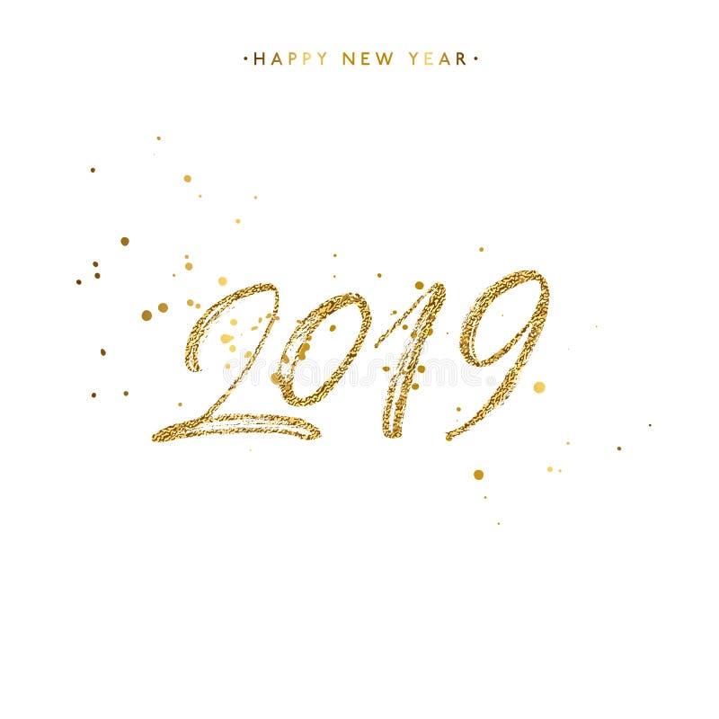 Guten Rutsch ins Neue Jahr-Kartengestaltungselement mit Goldenem plätschert stockfotografie