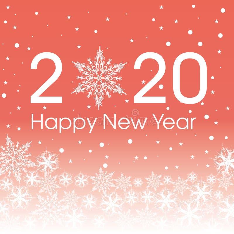 2020-guten Rutsch ins Neue Jahr-Kartenschablone Patern Schneeflocken des Entwurfs stock abbildung