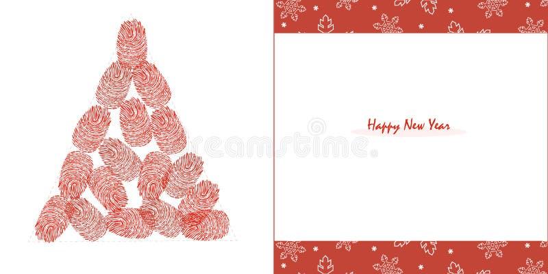 Guten Rutsch ins Neue Jahr Kiefer mit roten Fingerabdrücken und Schneeflockengrußkartenvektor stock abbildung