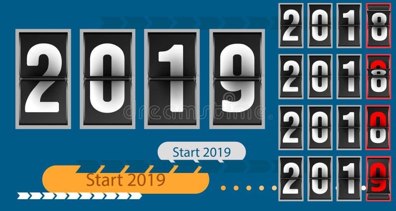 Guten Rutsch ins Neue Jahr-Konzeptschablonenanaloger Gegencountdowntimer, Retro- des Zahl-Zählers des leichten Schlages Jahr von  vektor abbildung