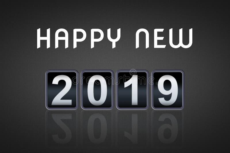 2018 2019-guten Rutsch ins Neue Jahr-Konzeptweinleseanaloger Gegencountdowntimer, Retro- Zahlzähler des leichten Schlages von 201 stockfoto