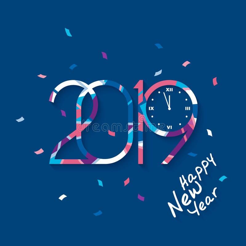 2019 guten Rutsch ins Neue Jahr Kopierte Zahlen mit Uhr, die Mitternacht auf blauem Hintergrund zählen vektor abbildung