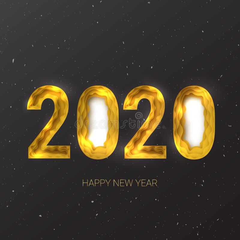 Guten Rutsch ins Neue Jahr 2020 Kreativer Papier-Schnittvektor ENV 10 der Zusammenfassung 3d stock abbildung