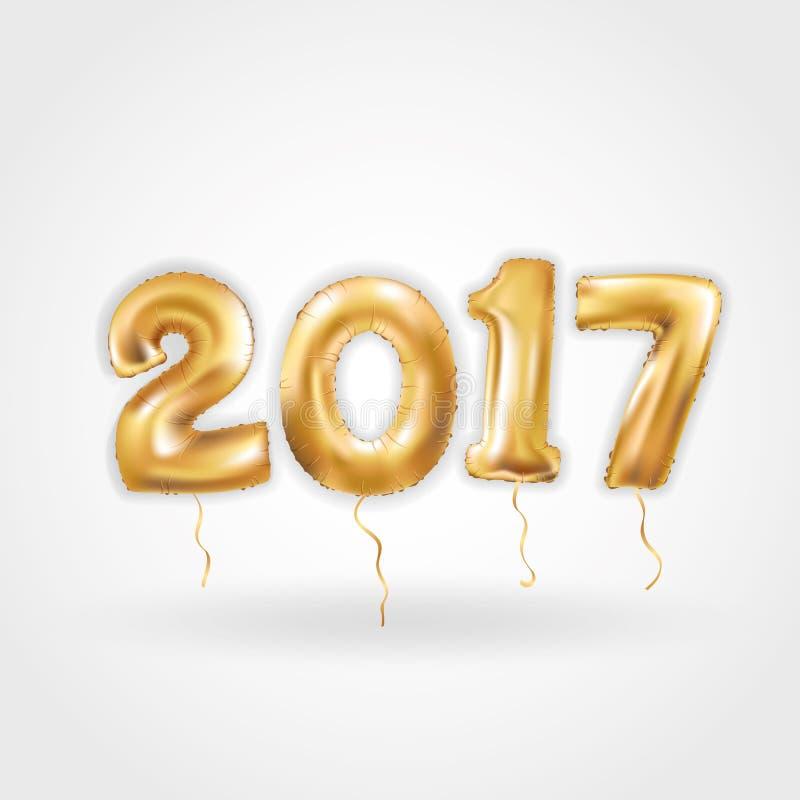 Guten Rutsch ins Neue Jahr-metallische Goldballone stock abbildung