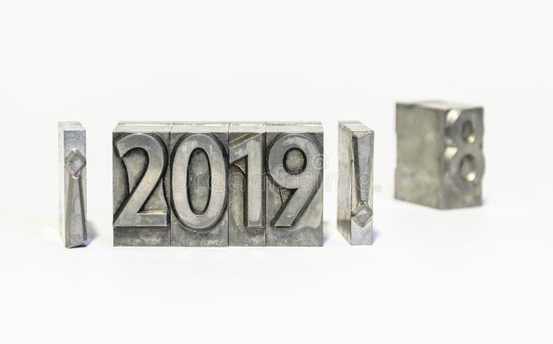 Guten Rutsch ins Neue Jahr 2019 mit Arten der Presse Auf Wiedersehen 2018 lizenzfreies stockbild