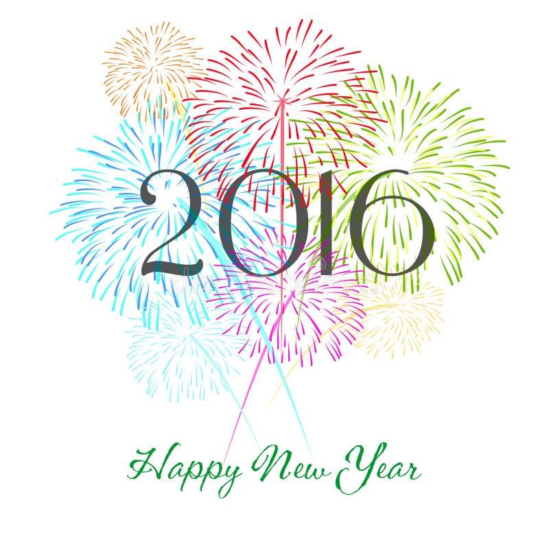 Guten Rutsch ins Neue Jahr 2016 mit Feuerwerksfeiertagshintergrund stock abbildung