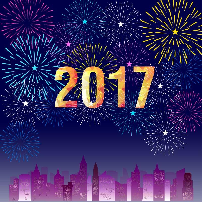 Guten Rutsch ins Neue Jahr 2017 mit Feuerwerkshintergrund lizenzfreie abbildung