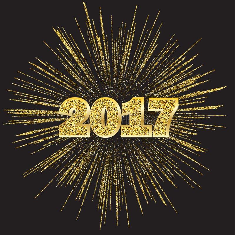 Guten Rutsch ins Neue Jahr 2017 mit goldenen Feuerwerken auf dunklem Hintergrund, Vektorillustration stock abbildung