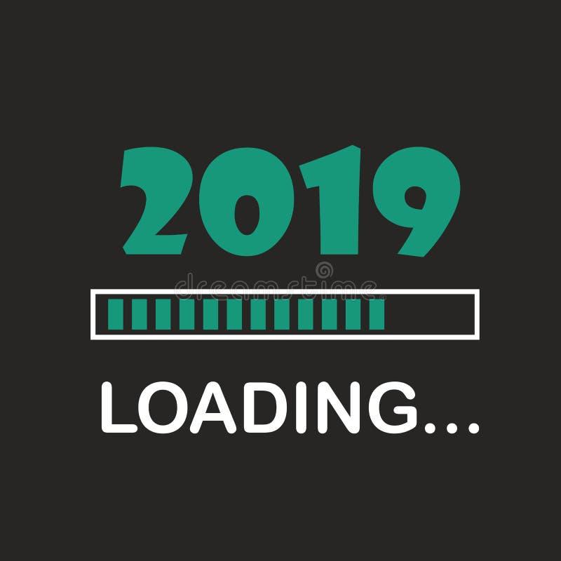 Guten Rutsch ins Neue Jahr 2019 mit ladender Ikonenneonart Fortschrittsstange, die fast neues Jahr ` s Vorabend erreicht Illustra stock abbildung