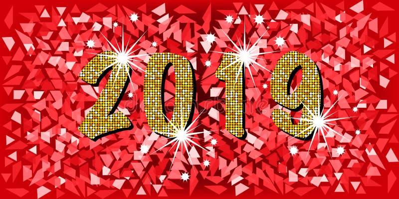 2019 guten Rutsch ins Neue Jahr mit moderner Art der goldenen Mosaikfunkelnbeschaffenheitshintergrund-Zusammenfassung, rote Mosai stock abbildung