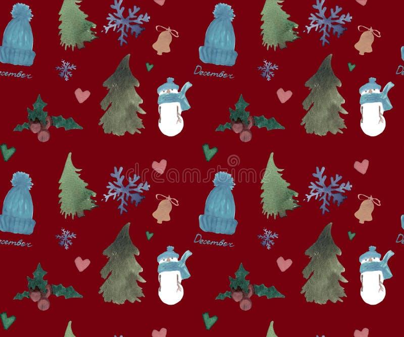 Guten Rutsch ins Neue Jahr-nahtloses Muster, Weihnachtswinterthema, schöner Aquarellhintergrund stock abbildung