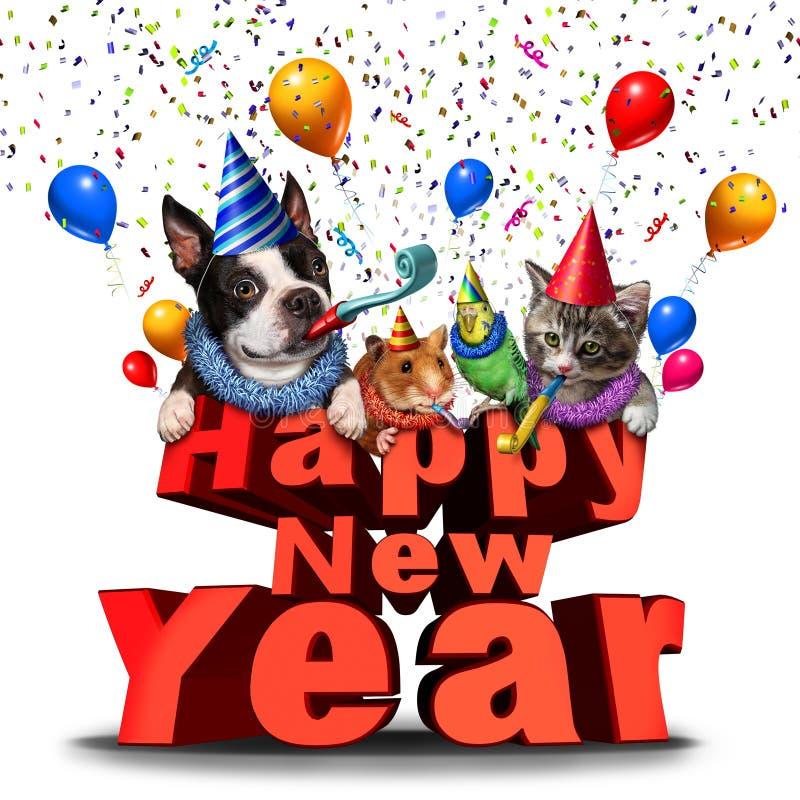 Guten Rutsch ins Neue Jahr-nette Tiere vektor abbildung