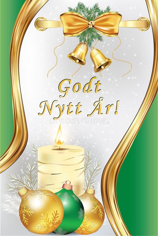 Guten Rutsch ins Neue Jahr - norwegische Grußkarte mit einem Grün und einem silbernen Hintergrund vektor abbildung