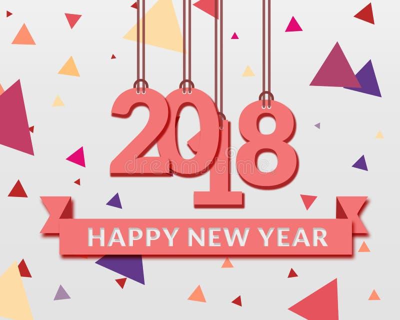 Guten Rutsch ins Neue Jahr 2018 Papierdesign lizenzfreies stockbild