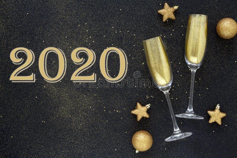 Guten Rutsch ins Neue Jahr 2020 Schönes Glühen überlagert für Feiertagsgrußkarte Flache Lagezusammensetzung stockfoto