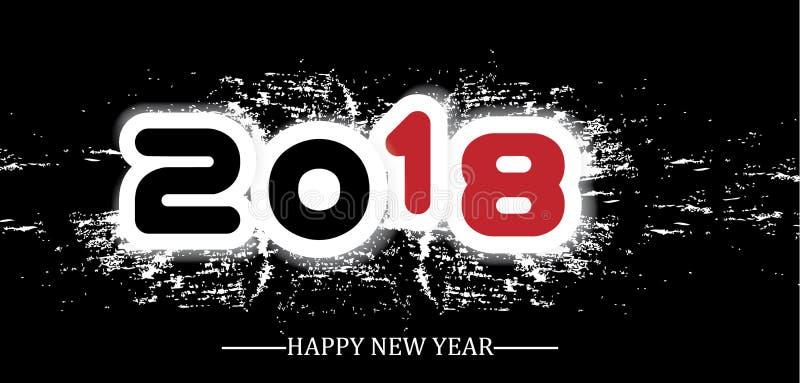 2018-guten Rutsch ins Neue Jahr-Schmutzart lizenzfreie abbildung
