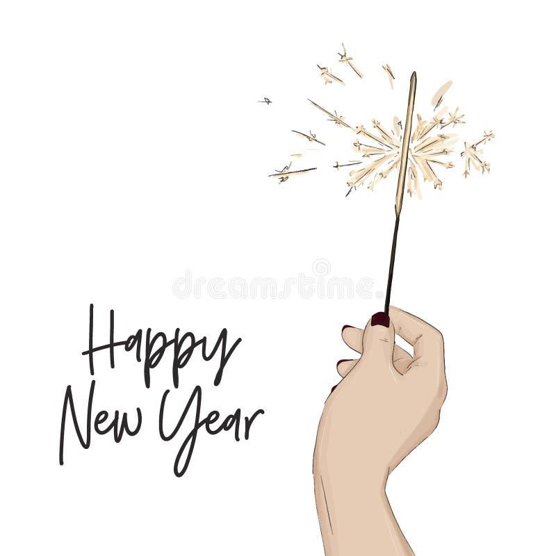 Guten Rutsch ins Neue Jahr-Skizze mit der Hand, die Bengal-Licht hält Helles Winterurlaubsymbol des Glanzes Magische Feiertagsgru lizenzfreie abbildung