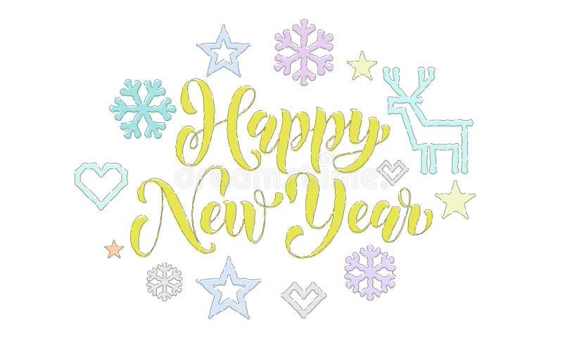 Guten Rutsch ins Neue Jahr-Stickereiguß und gestrickte Dekorationen für Feiertagsgruß-Kartendesign Vektor-Weihnachtskalligraphiet stock abbildung