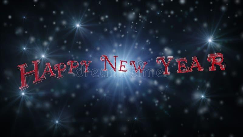 Guten Rutsch ins Neue Jahr-Text auf schwarzem Backround voll des Schnees, der Sterne und der hellen Wiedergabe 3D stock abbildung