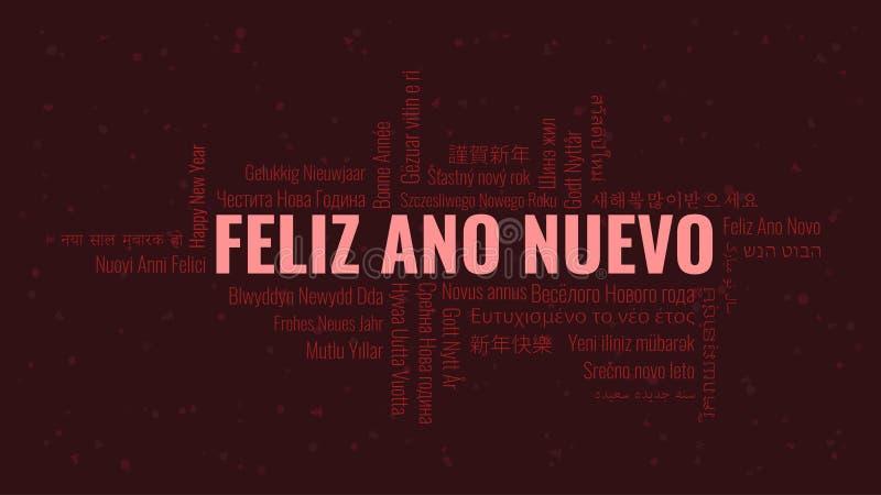 Guten Rutsch ins Neue Jahr-Text auf spanisch 'Feliz Ano Nuevo' mit Wortwolke auf einem dunklen Hintergrund lizenzfreie abbildung