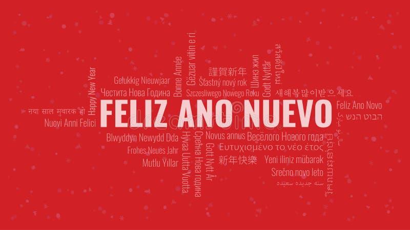 Guten Rutsch ins Neue Jahr-Text auf spanisch 'Feliz Ano Nuevo' mit Wortwolke auf einem roten Hintergrund lizenzfreie abbildung