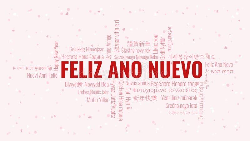 Guten Rutsch ins Neue Jahr-Text auf spanisch 'Feliz Ano Nuevo' mit Wortwolke auf einem weißen Hintergrund vektor abbildung