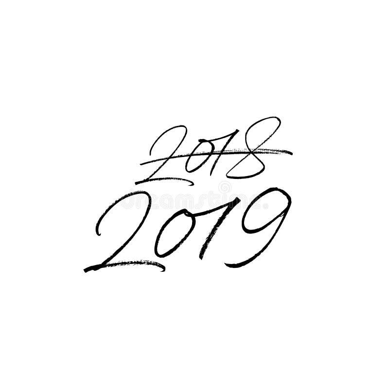 2019-guten Rutsch ins Neue Jahr-Text lokalisiert auf weißem Hintergrund lizenzfreies stockbild
