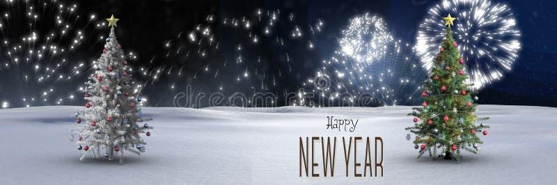 Guten Rutsch ins Neue Jahr-Text und Weihnachtsbäume im Winter gestalten mit Feuerwerken landschaftlich lizenzfreie abbildung