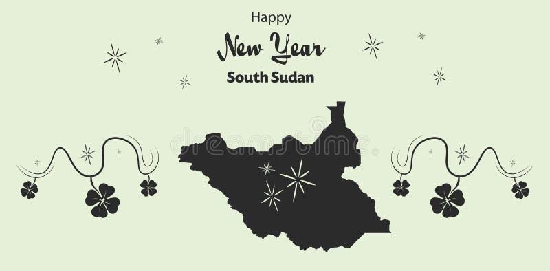 Guten Rutsch ins Neue Jahr-Thema mit Karte von Süd-Sudan lizenzfreie abbildung