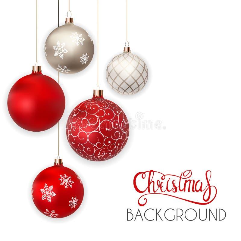 Guten Rutsch ins Neue Jahr-und frohe Weihnacht-Winter-Hintergrund mit Ball-Vektor-Illustration lizenzfreie abbildung