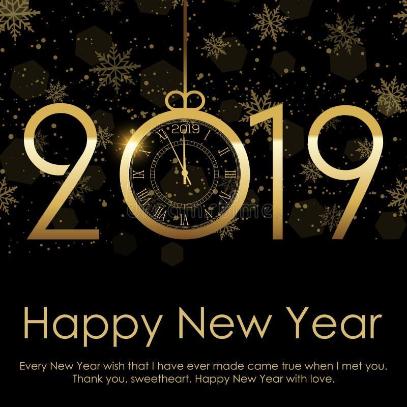 Guten Rutsch ins Neue Jahr- und Weihnachtshintergrund mit fallendem Goldschnee 2019 Vektor stock abbildung