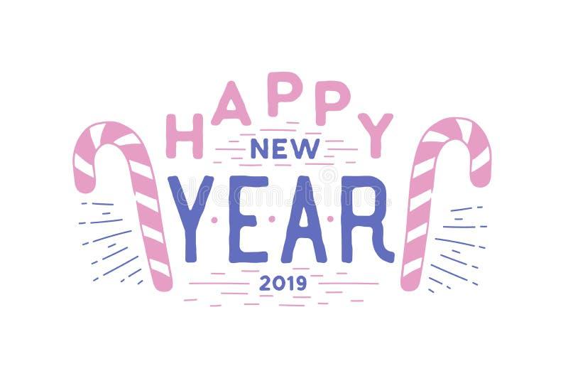Guten Rutsch ins Neue Jahr-Urlaubswunsch geschrieben mit elegantem kalligraphischem Guss Handgeschriebene festliche Beschriftung  vektor abbildung