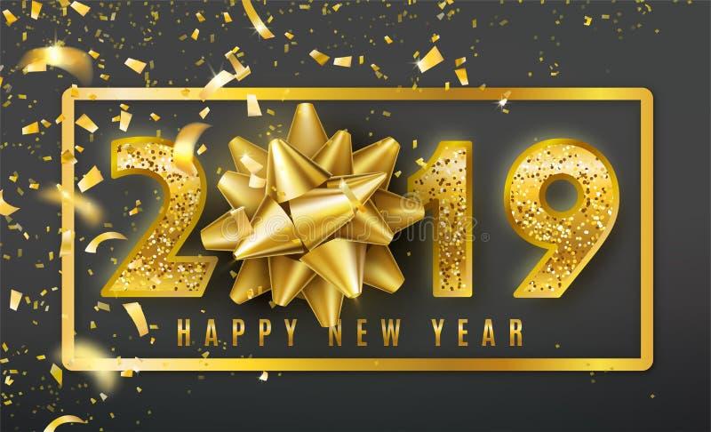 2019-guten Rutsch ins Neue Jahr-Vektorhintergrund mit goldenem Geschenkbogen, Konfettis, glänzenden Funkelngoldzahlen und Grenze  stock abbildung