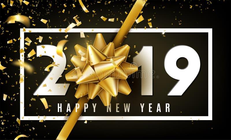 2019-guten Rutsch ins Neue Jahr-Vektorhintergrund mit goldenem Geschenkbogen, Konfettis, weißen Zahlen und Grenze Weihnachten fei lizenzfreie abbildung