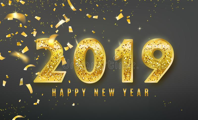 2019-guten Rutsch ins Neue Jahr-Vektorhintergrund mit goldenen Konfettis, Lamettaelemente, Glanzfunkeln nummeriert Weihnachten fe lizenzfreie abbildung