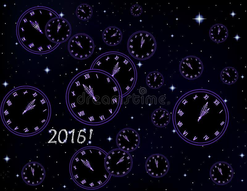 Guten Rutsch ins Neue Jahr-Vektorhintergrund mit Uhr auf einem sternenklaren Hintergrund des Raumes stock abbildung