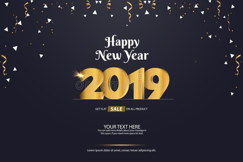Guten Rutsch ins Neue Jahr-Verkaufs-abstraktes Vektor-Hintergrund-Schablonen-Design 2019 vektor abbildung