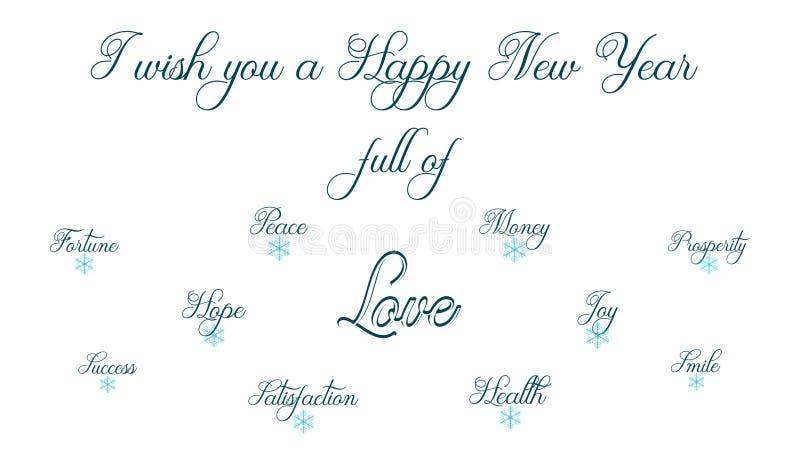 Guten Rutsch ins Neue Jahr voll des Friedens, der Gesundheit, des Geldes, des Vermögens, des happyness, des Lächelns und der Freu stock abbildung