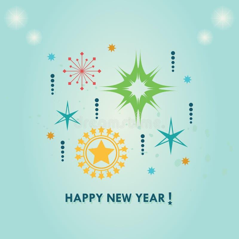 Guten Rutsch ins Neue Jahr-Zusammenfassungssterne eingestellt auf blaue Steigung stock abbildung