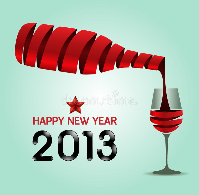 Guten Rutsch ins Neue Jahrfarbband-Weinflaschenform 2013/Vektorillustrat lizenzfreie abbildung