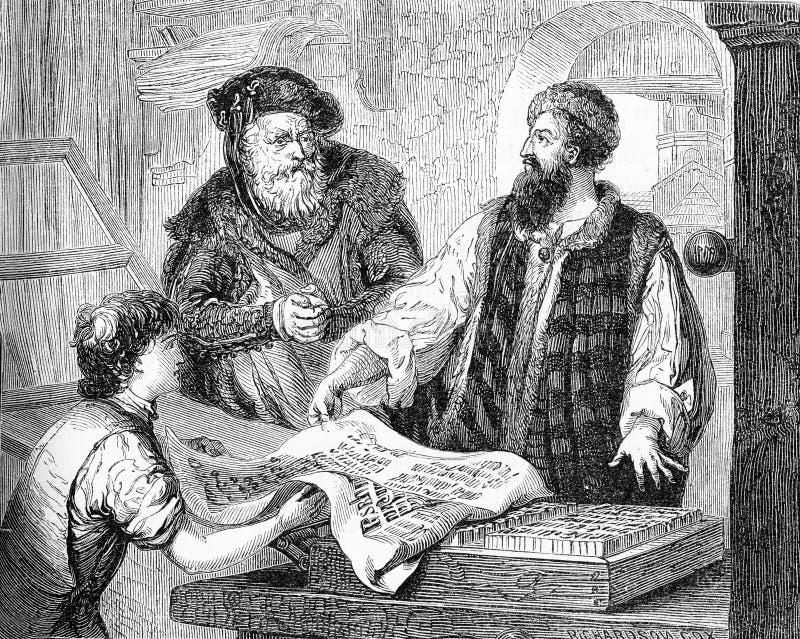Gutenberg que verifica uma prova de seu trabalho ilustração royalty free