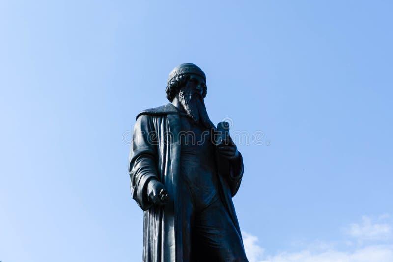Gutenbergstandbeeld in het Palatinaat Duitsland van Mainz het Rijnland stock fotografie