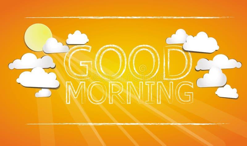 Gutenmorgen auf dem Himmel stock abbildung