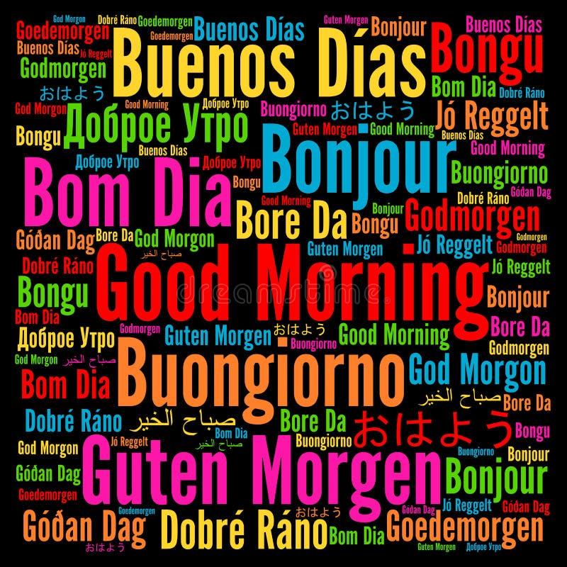 Gutenmorgen In Den Verschiedenen Sprachen Stock Abbildung