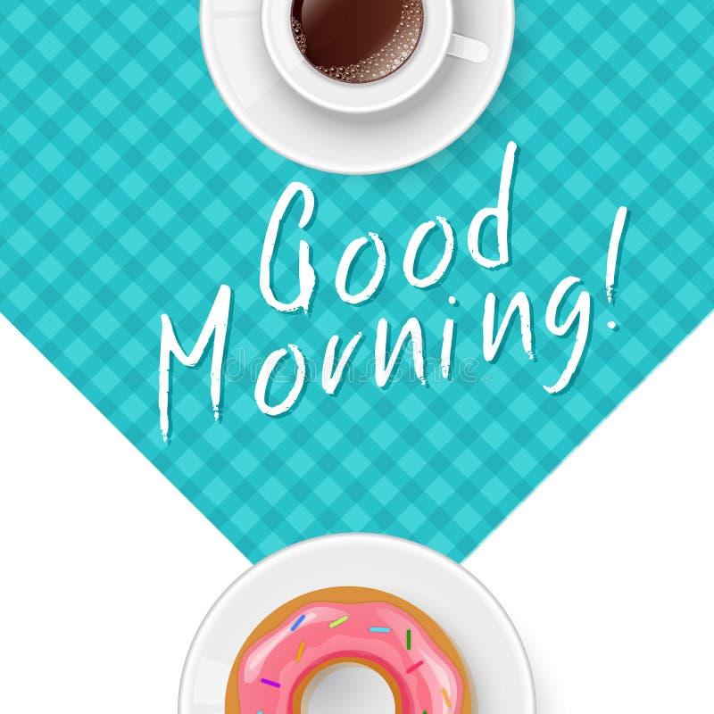 Gutenmorgen mit Kaffee lizenzfreie abbildung